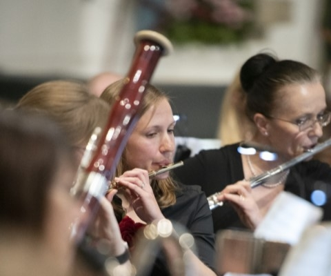 Flute players and bassoon