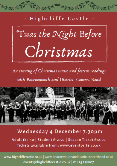 Poster for Christmas concert at Highcliffe Castle