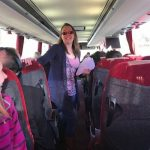Band members on the coach