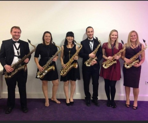 Saxophone players before concert