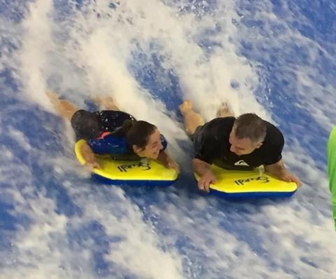Tw band members indoor surfing