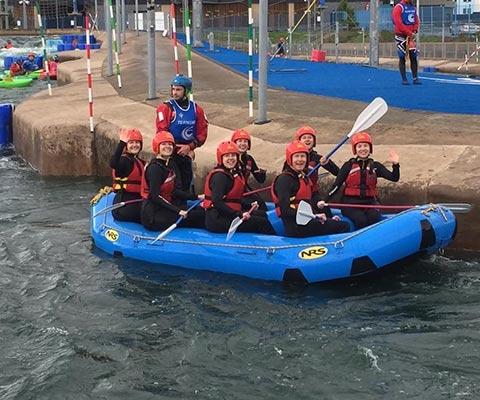 Band members doing white water rafting